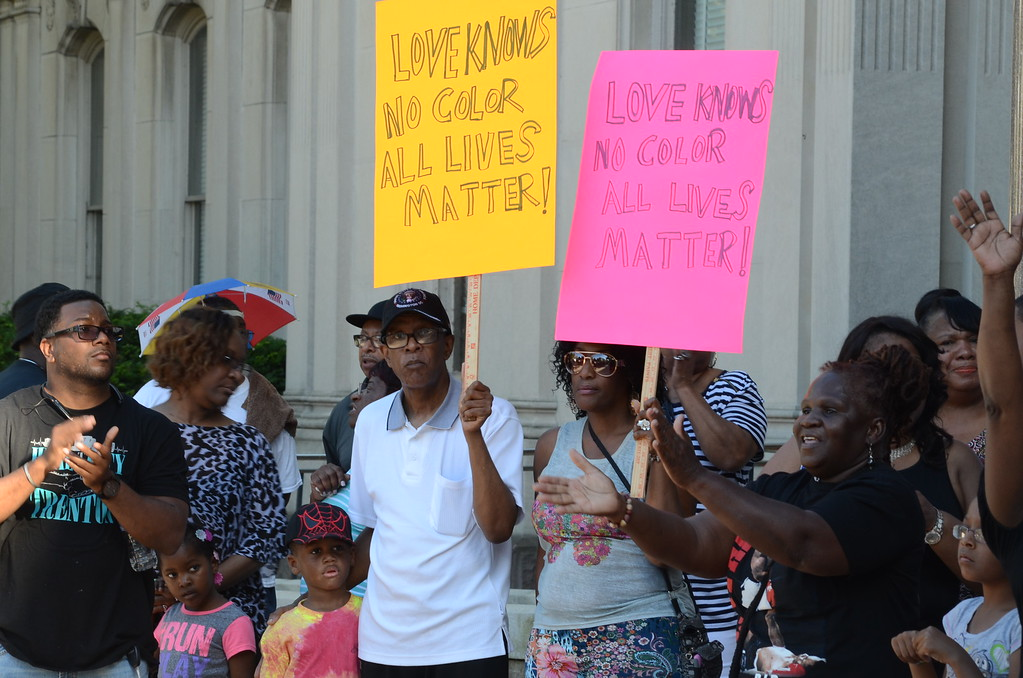 . Citizens of all ages marched through Trenton and gathered at the state house Monday promoting peace and calling for an end to police brutality. (Penny Ray - Trentonian)