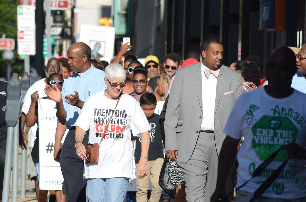 . Councilwoman Marge Caldwell-Wilson (left) and Councilman Duncan Harrison Jr. (next to her) joined citizens in a march through Trenton Monday promoting peace and calling for an end to police brutality. (Penny Ray - Trentonian)