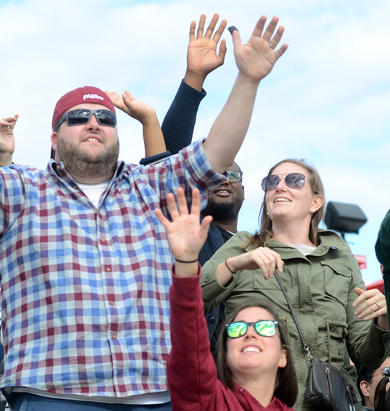 Fans cheer at the Trenton Thunder Case`s Pork Roll Eating Championship on Saturday. gregg slaboda photo