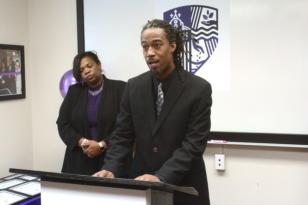 . Shakaar Z. Johnson of the Smith Family Foundation  talks about the foundation�s mission before board members gave out grants to a dozen Trenton non-profits. 