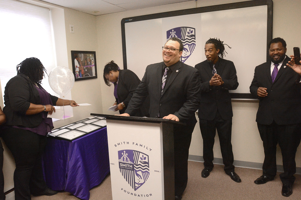 . Harold Smith, program director of the Smith Family Foundation, speaks about the grants the group awarded to a dozen Trenton non-profits on Thursday. 
