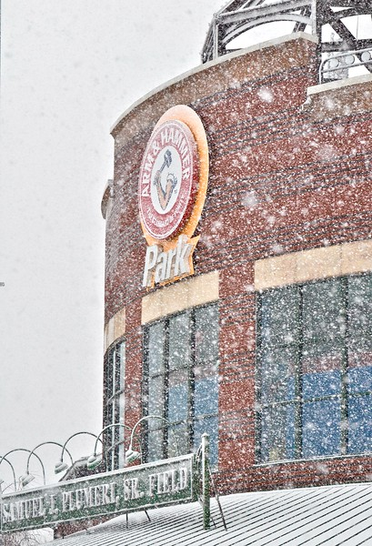 Snow falls on Arm & Hammer Park in Trenton during a storm on Wednesday afternoon. The Thunder are scheduled to begin their season the first week of April. (Kyle Franko/ Trentonian Photo)