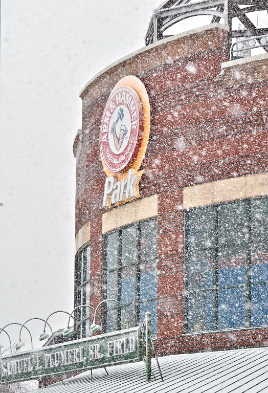 . Snow falls on Arm & Hammer Park in Trenton during a storm on Wednesday afternoon. The Thunder are scheduled to begin their season the first week of April. (Kyle Franko/ Trentonian Photo)