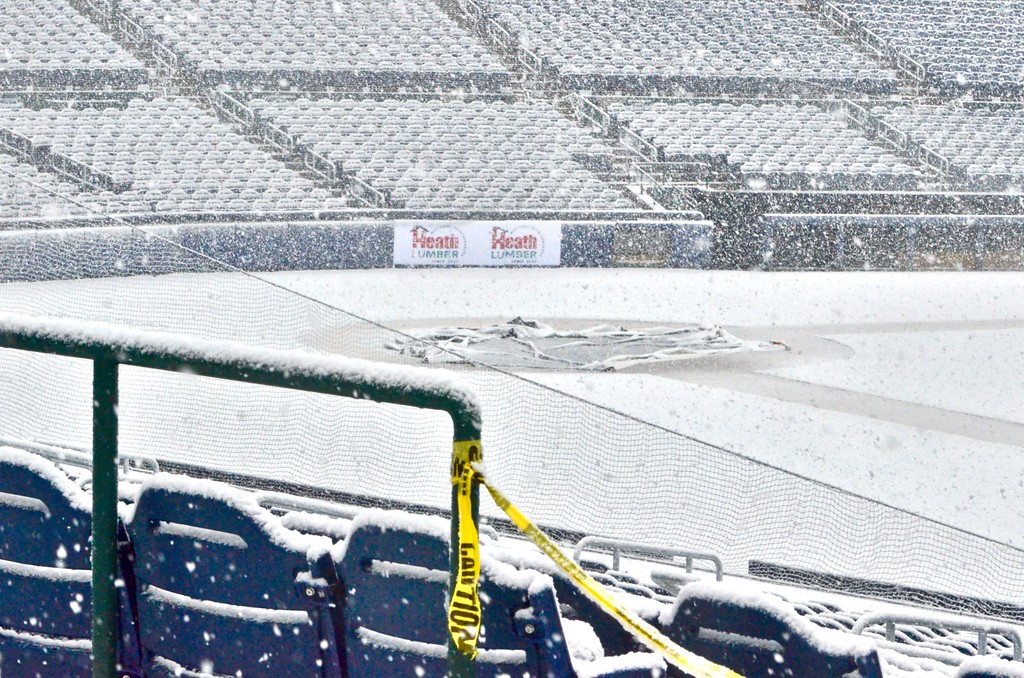 . Snow falls inside Arm & Hammer Park in Trenton on Wednesday afternoon. (Kyle Franko/ Trentonian Photo)