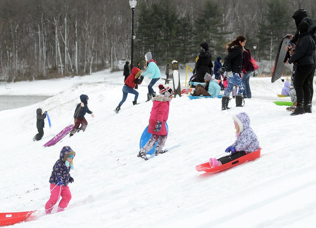 . Veterans Park in Hamilton was a popular place to enjoy the snow on Thursday morning. gregg slaboda photo