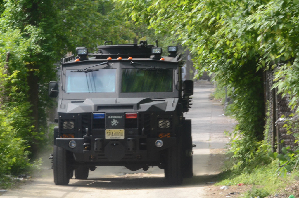 . A New Jersey State Police Bearcat is seen on Hills Place on May 10, 2017 during a standoff with a man who had been involved in a shootout with police. (Penny Ray - The Trentonian)