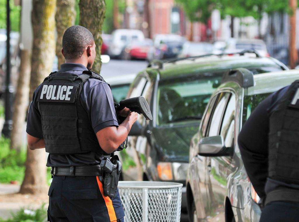 . Trenton pollice are seen on  Centre Street on May 10, 2017. (Scott Ketterer - The Trentonian)