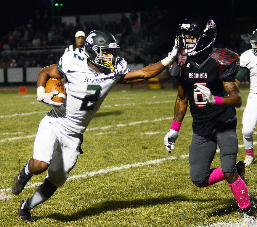 . Steinert`s Jordan Morrison(l)carries the ball as Allentown`s Sadik Queen tries to make the tackle. gregg slaboda photo
