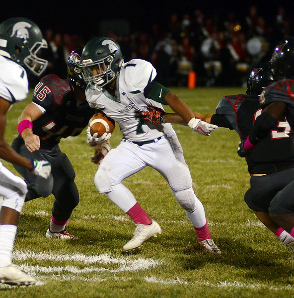 Steinert`s Xavier Thompson fight s for yardage against Allentown. gregg slaboda photo