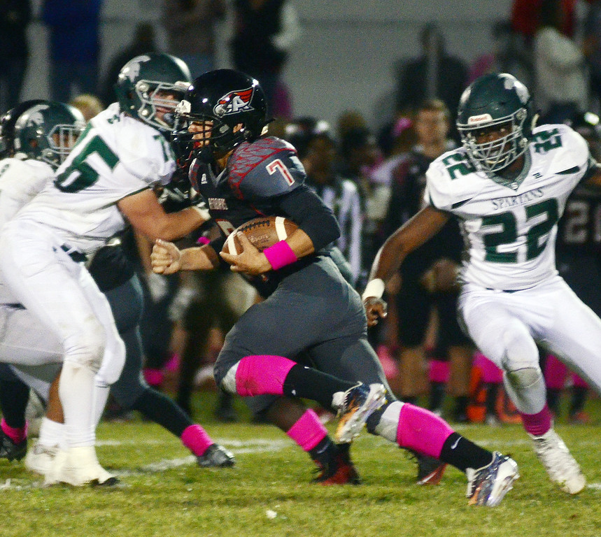 . Allentown`s Dan Merkel (7) carries the ball against Steinert. gregg slaboda photo