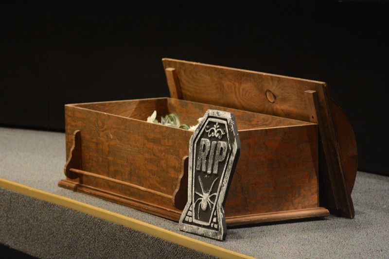 The TEA brought a fake coffin for Superintendent Fred McDowell to illustrate their desire to get rid of him. <br /> John Berry — The Trentonian