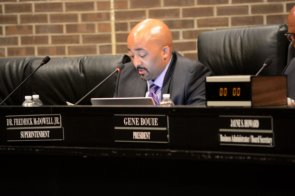 . Superintendent Frederick McDowell reads a statement at the Trenton Board of Education meeting Monday. 