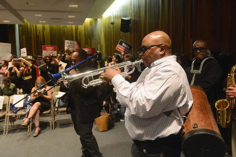 The TEA brought a band with them for Monday's board of education meeting to help them protest Superintendent Fred McDowell. <br /> John Berry — The Trentonian