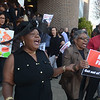"TEA grievance chair Janice WIlliams leads the crowd outside the Board of Education building in chants of ""Move Fred, get out the way"" before Monday's meeting. <br /> John Berry — The Trentonian"