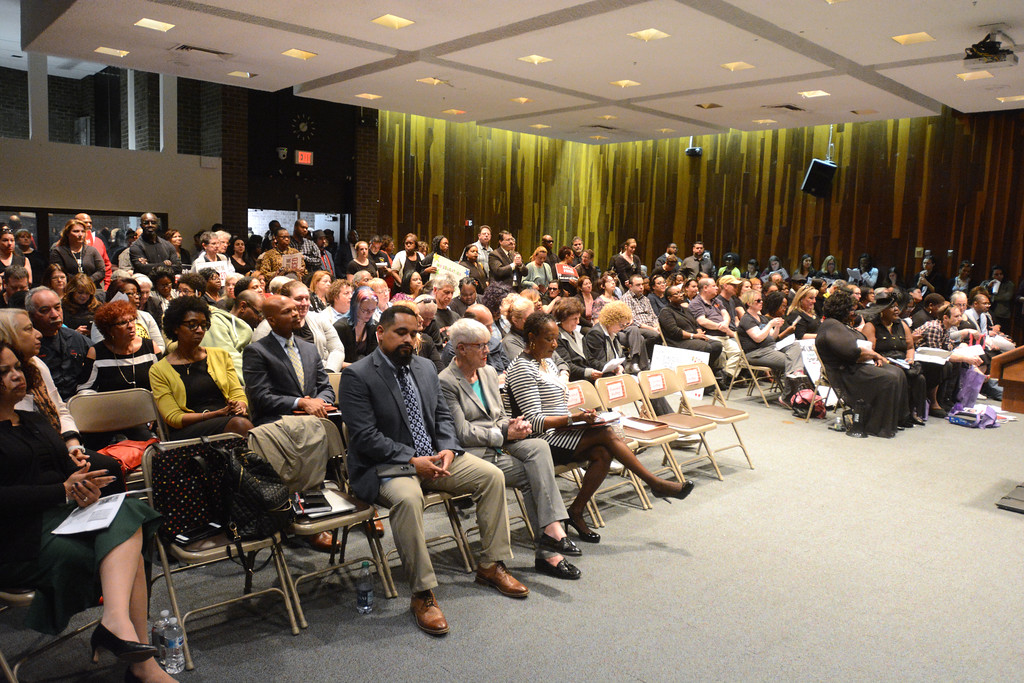 . The TEA and Trenton teachers packed the auditorium at the Trenton Board of Education meeting Monday. 