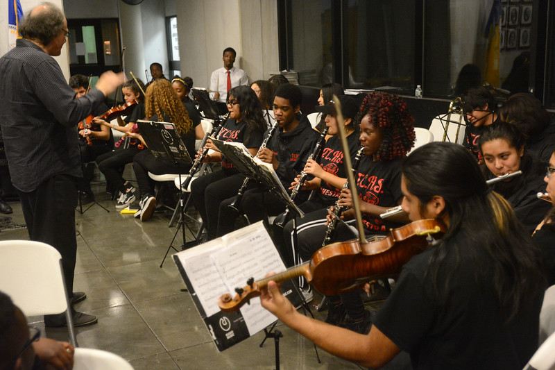 The Trenton Central High School orchestra perform Christmas carols during the city's annual tree lighting ceremony. <br /> John Berry - The Trentonian