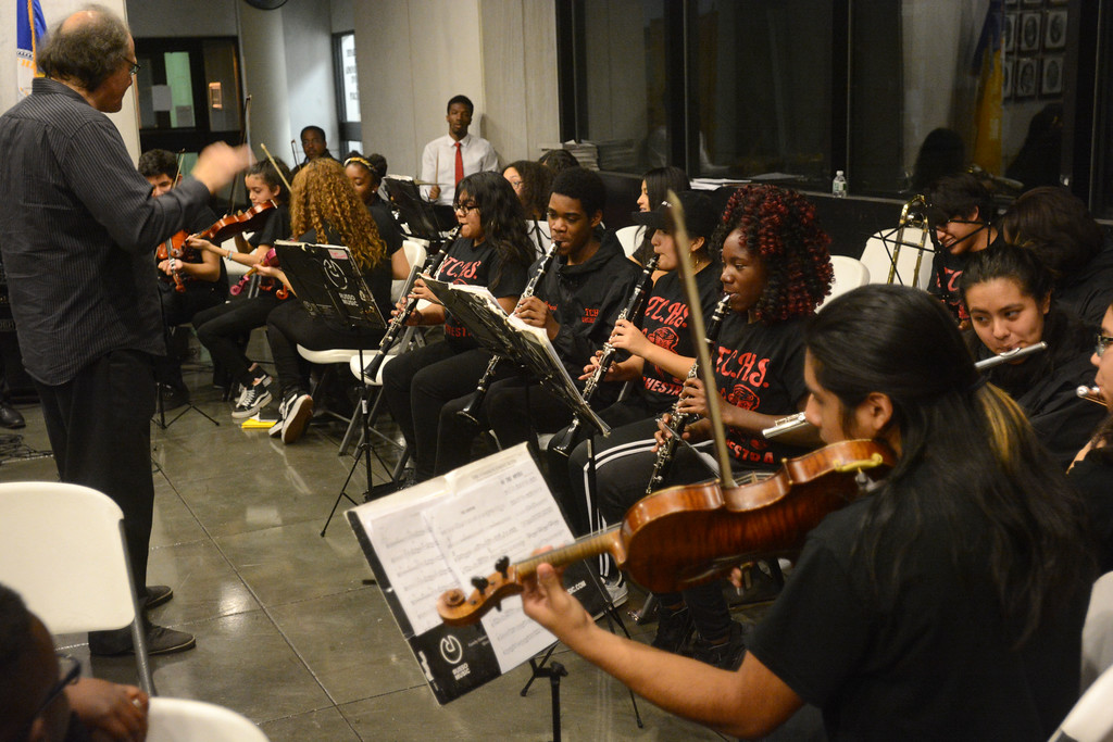 . The Trenton Central High School orchestra perform Christmas carols during the city�s annual tree lighting ceremony. 