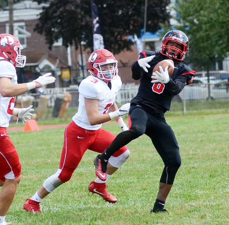 . Trenton Mahsiah McRae pulls in a pass against Lenape. gregg slaboda photo