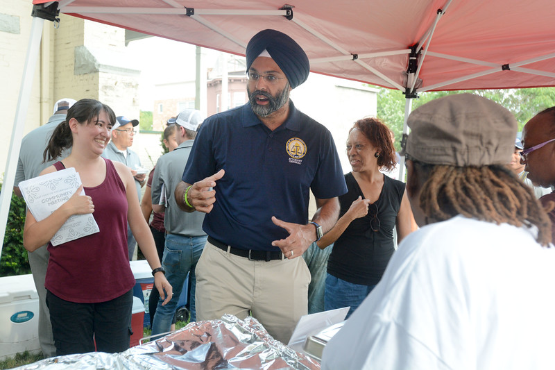 New Jersey Attorney General Gurbir Grewal made a stop at the National Night Out event at the East Trenton Center at Olden Aves in Trenton. <br /> John Berry — The Trentonian