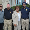 (L to r) Acting Trenton Police Director Pedro Medina, Mercer County Prosecutor Angelo Onofri, State Senator Shirley Turner, State Attorney General Gurbir Grewal, Trenton Mayor Reed Gusciora at the National Night Out event at the East Trenton Center at Clinton and Olden Aves in Trenton. <br /> John Berry — The Trentonian