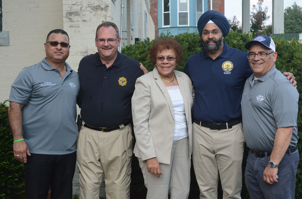 . (L to r) Acting Trenton Police Director Pedro Medina, Mercer County Prosecutor Angelo Onofri, State Senator Shirley Turner, State Attorney General Gurbir Grewal, Trenton Mayor Reed Gusciora at the National Night Out event at the East Trenton Center at Clinton and Olden Aves in Trenton. John Berry � The Trentonian