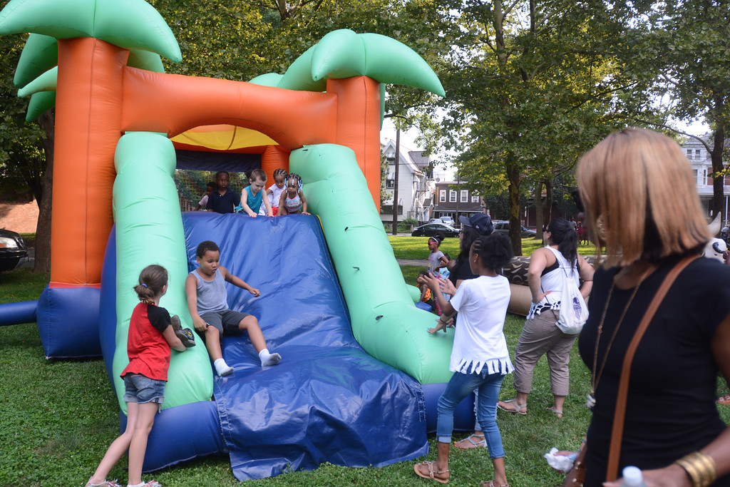 . The inflatable attractions were a big draw Tuesday night at National Night Out in Trenton at Columbus Park. 