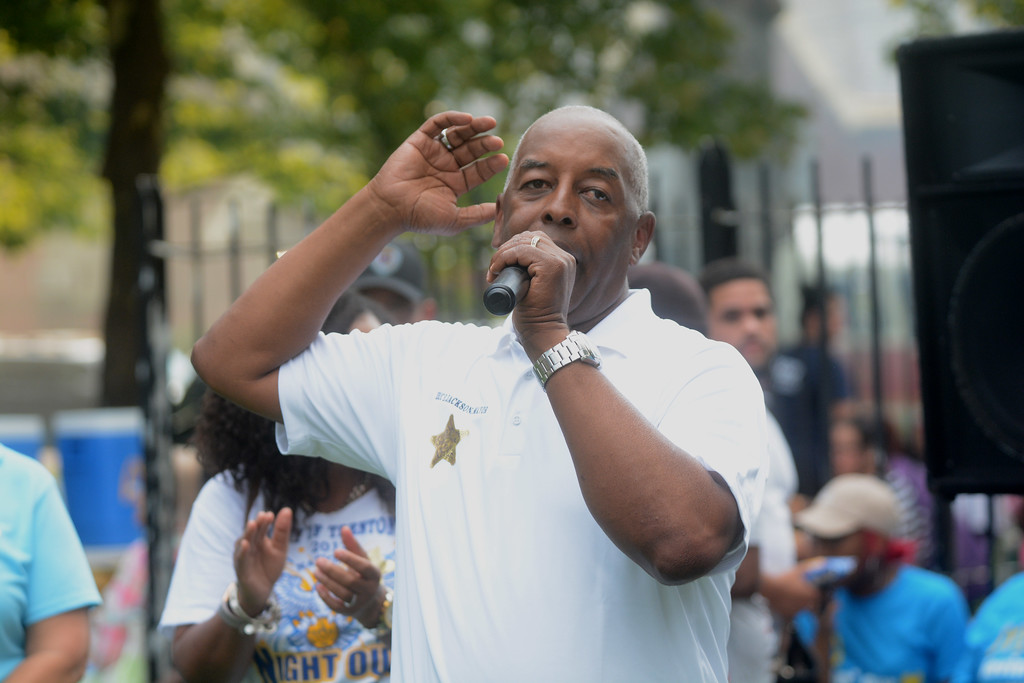 . Trenton Mayor Eric Jackson speaks at a National Night Out event at Columbus Park in Trenton Tuesday. 