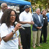 Trenton Council Member Verline Reynold-Jackson talks to the crowd at a National Night Out event at Columbus Park in Trenton Tuesday. <br /> John Berry - The Trentonian