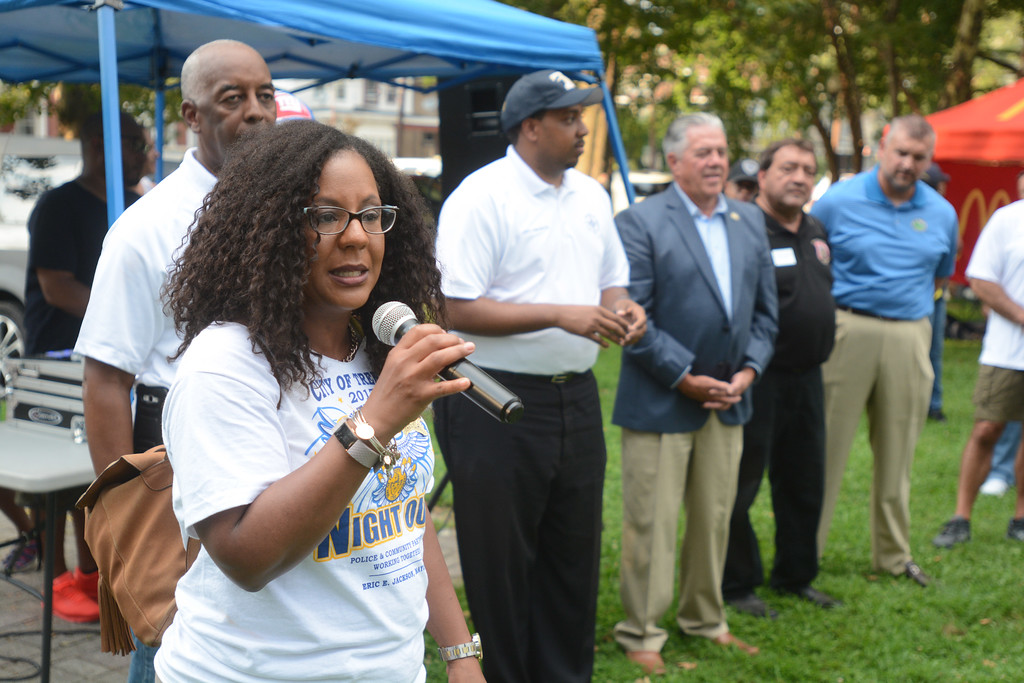 . Trenton Council Member Verline Reynold-Jackson talks to the crowd at a National Night Out event at Columbus Park in Trenton Tuesday. 