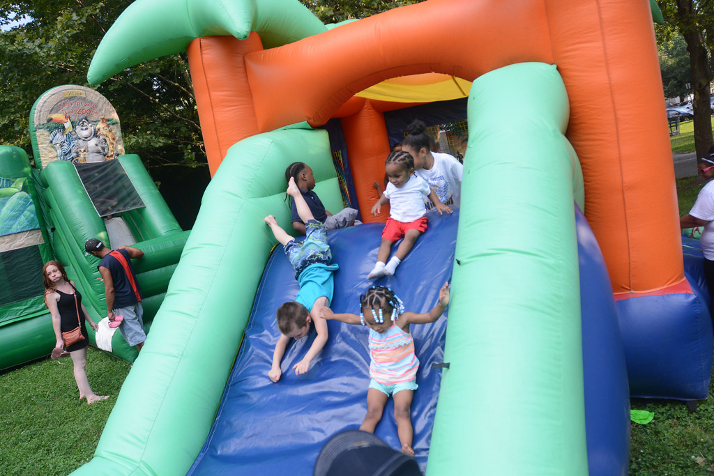 . The inflatable attractions were at hit at the  National Night Out event at Columbus Park in Trenton Tuesday. 