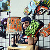 Jeisha(c)peeks trough her spooky handmade decor at the Trenton Punk Rock Flea Market on Saturday. gregg slaboda photo