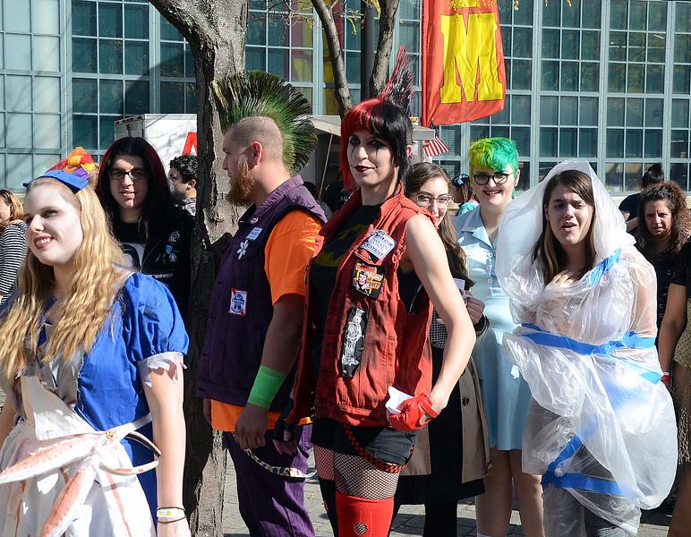People wait in line at the Trenton Punk Rock Flea Market Halloween contest. gregg slaboda photo