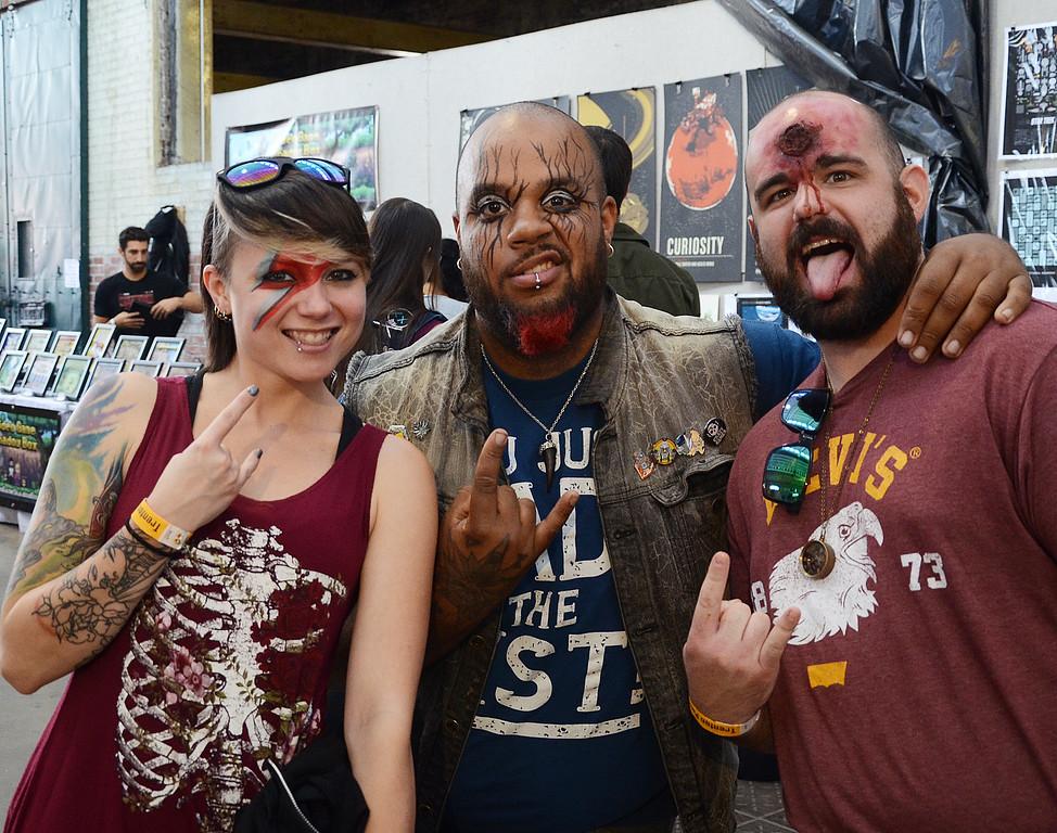 . L-R- Andrea Jensen,Kash and Matt DiBenedetto attend the Trenton Punk Rock Flea Market all ready for Halloween. gregg slaboda photo