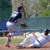 Thunder's Brandon Drury slides into second as Reading's Brandon Bednar tries to turn a double play.<br /> John Berry — The Trentonian
