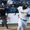 Gosuke Katoh heads for first base as he starts off the Thunder's home opener with a stand-up double. <br /> John Berry - The Trentonian