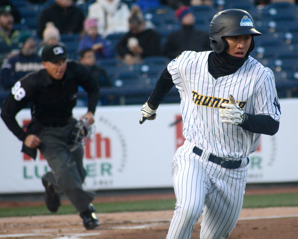 . Gosuke Katoh heads for first base as he starts off the Thunder�s home opener with a stand-up double. 
