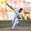 Domingo Acevedo pitches during the first inning of the Trenton Thunder's home opener Thursday at Arm & Hammer Park.<br /> John Berry — The Trentonian