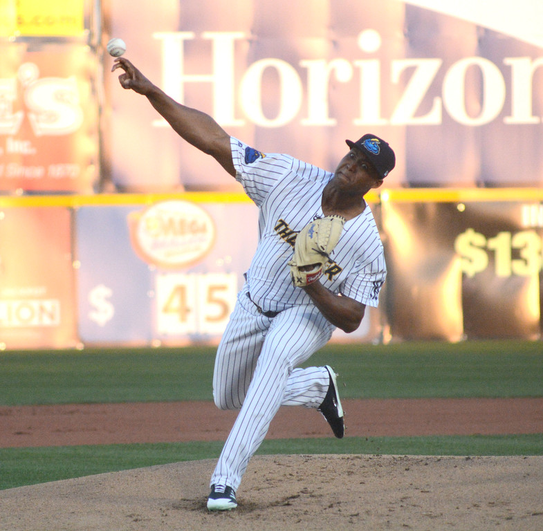. Domingo Acevedo pitches during the first inning of the Trenton Thunder�s home opener Thursday at Arm & Hammer Park.