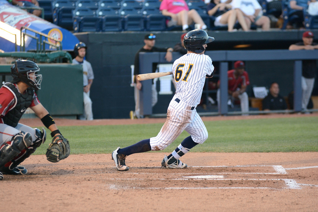 . Trenton Thunder�s Nick Solak hits during Friday night�s game at Arm & Hammer Park in Trenton. 