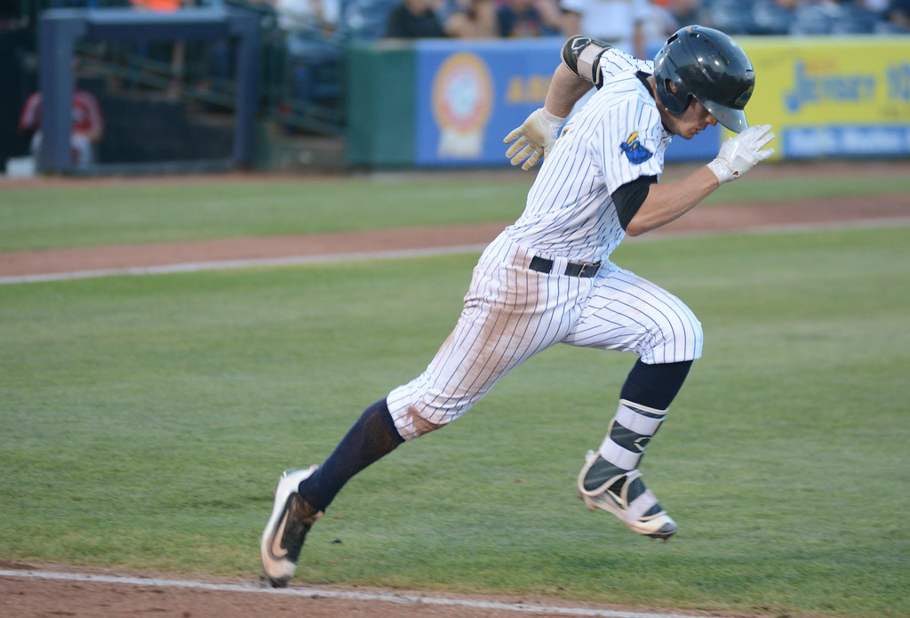 . Trenton Thunder�s Nick Solak tries to beat the throw to first during Friday night�s game at Arm & Hammer Park in Trenton. 