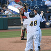 Trenton Thunder's Mike Ford gets a congratulatory hug from the the team's bat boy after hitting a home run during  Friday night's game at Arm & Hammer Park in Trenton. <br /> John Berry — The Trentonian