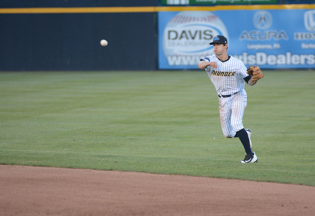 . Trenton Thunder�s Nick Solak throws during Friday night�s game at Arm & Hammer Park in Trenton. 