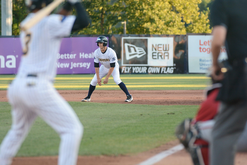 . Trenton Thunder�s Nick Solak looks for a chance to steal while Thairo Estrada is batting during Friday night�s game at Arm & Hammer Park in Trenton. 