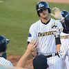 Trenton Thunder's Mike Ford returns to the dugout after his home run during Friday night's game at Arm & Hammer Park in Trenton. <br /> John Berry — The Trentonian