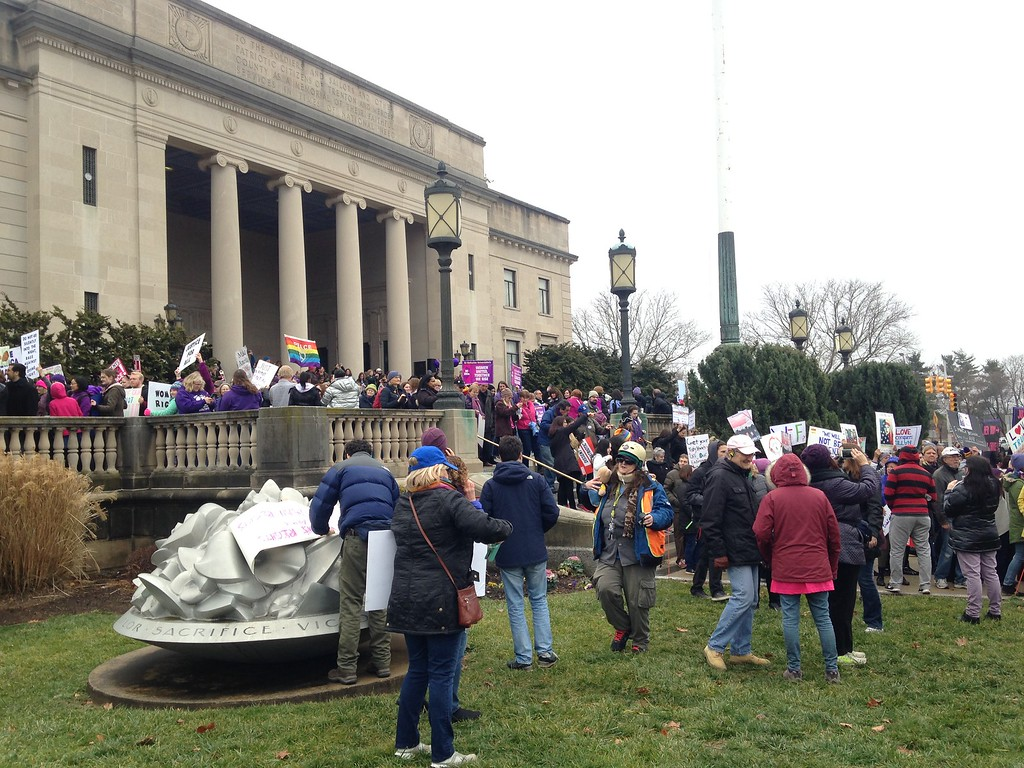 . Thousands of New Jerseyans unhappy with the election of President Donald Trump participate in the Women\'s March on Trenton on Saturday, Jan. 21, 2017. (SULAIMAN ABDUR-RAHMAN - The Trentonian)
