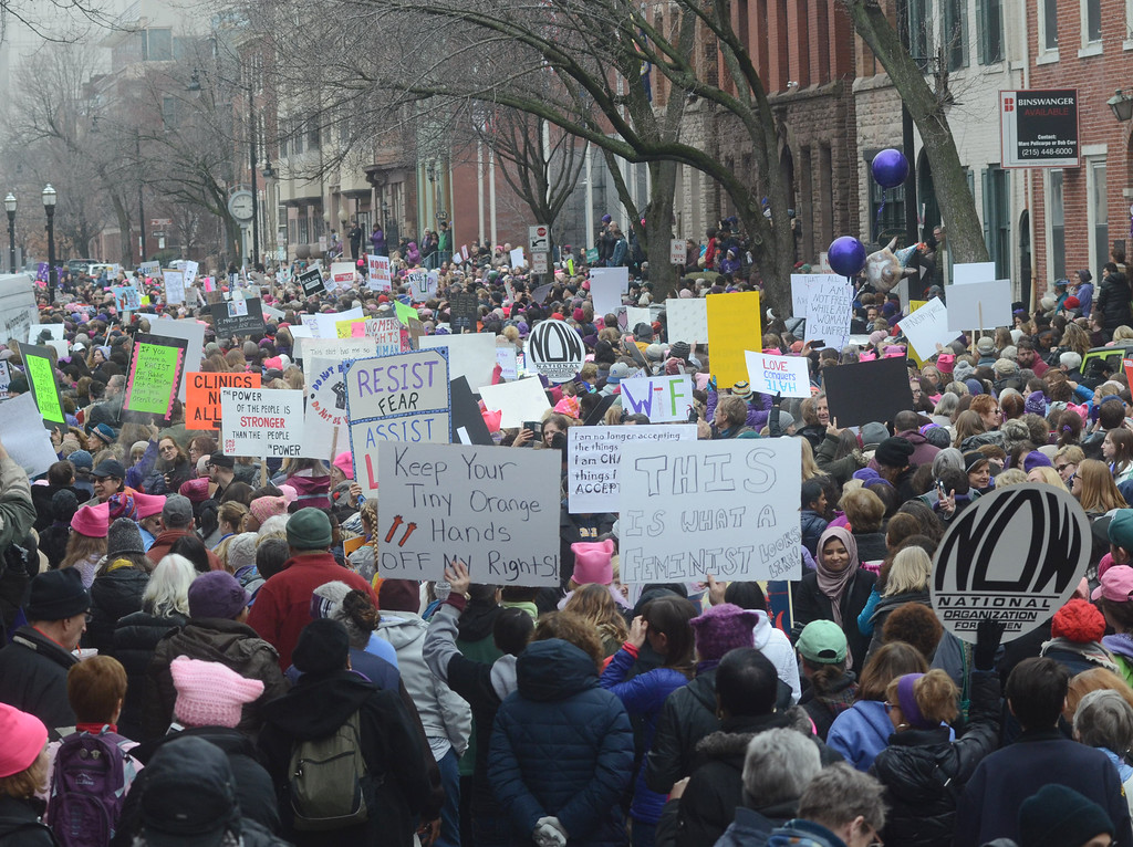 . Protestors from the Women`s March on New Jersey  crowd  W State st in Trenton on Saturday. (Gregg Slaboda - The Trentonian)