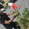 Former mayoral candidate Walker Worthy takes part in the cleanup effort along the 400 block of Bellevue Ave. in Trenton during part of the city's cleanup efforts Saturday. <br /> John Berry — The Trentonian