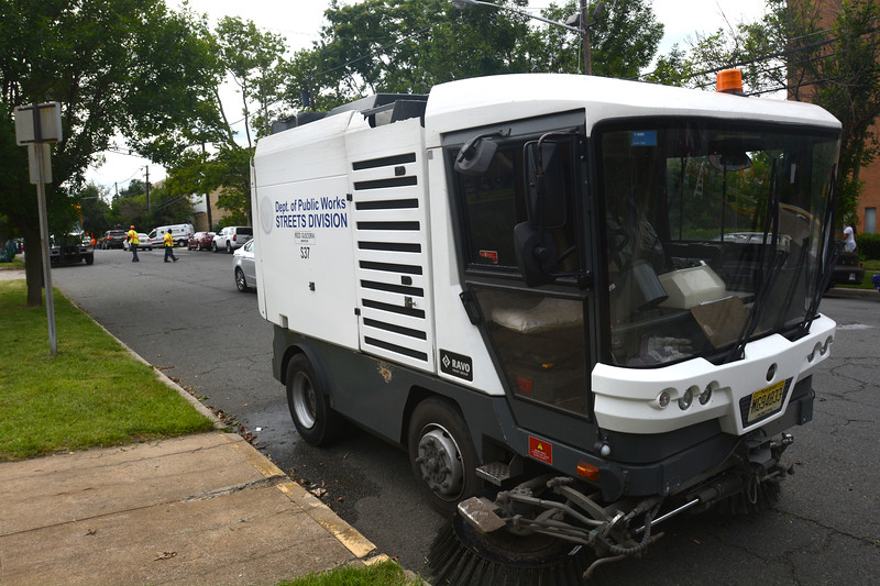 One of the street sweepers parked along the 400 block of Bellevue Ave. in Trenton during part of the city's cleanup efforts Saturday. <br /> John Berry — The Trentonian