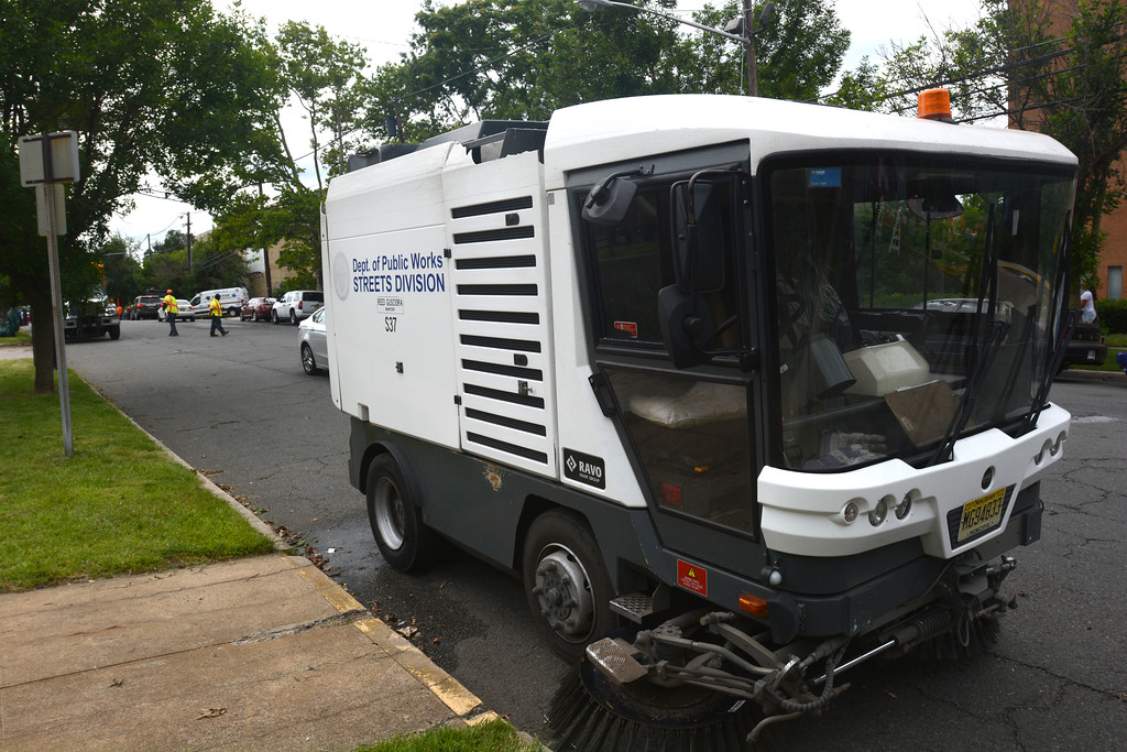 . One of the street sweepers parked along the 400 block of Bellevue Ave. in Trenton during part of the city�s cleanup efforts Saturday. John Berry � The Trentonian