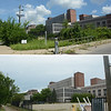 The former Mercer Hospital on Bellevue Ave in Trenton, top on Friday and bottom on Saturday after volunteers and city workers cleaned up the block.<br /> John Berry — The Trentonian